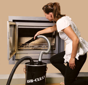 A vacuum can be used to clean ash and dust.